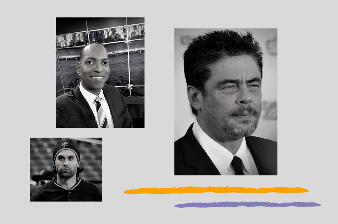 Benicio Del Toro, Ángel Pagán y Julio Rivera Saniel, participantes de la campaña contra la violencia de género Se acabó