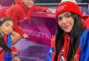 Adriana Díáz, Melanie Díaz y Daniely Ríos, equipo de tenis de mesa de Puerto Rico.