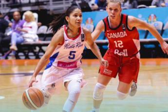 Pamela Rosado en juego ante Canadá en AmriCup 2019