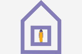 Mujer confinada en su hogar