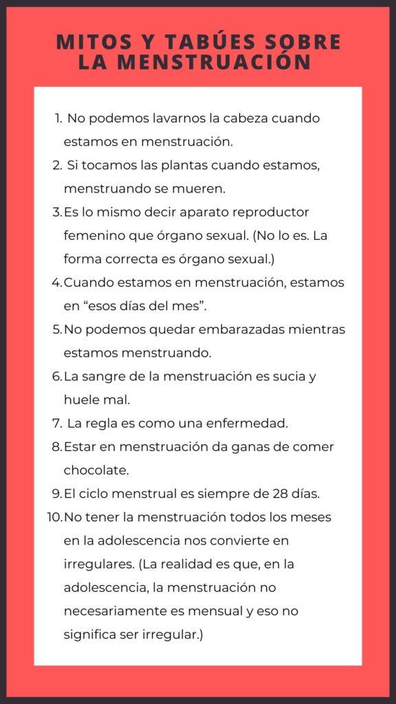 Mitos y tabúes sobre la menstruación