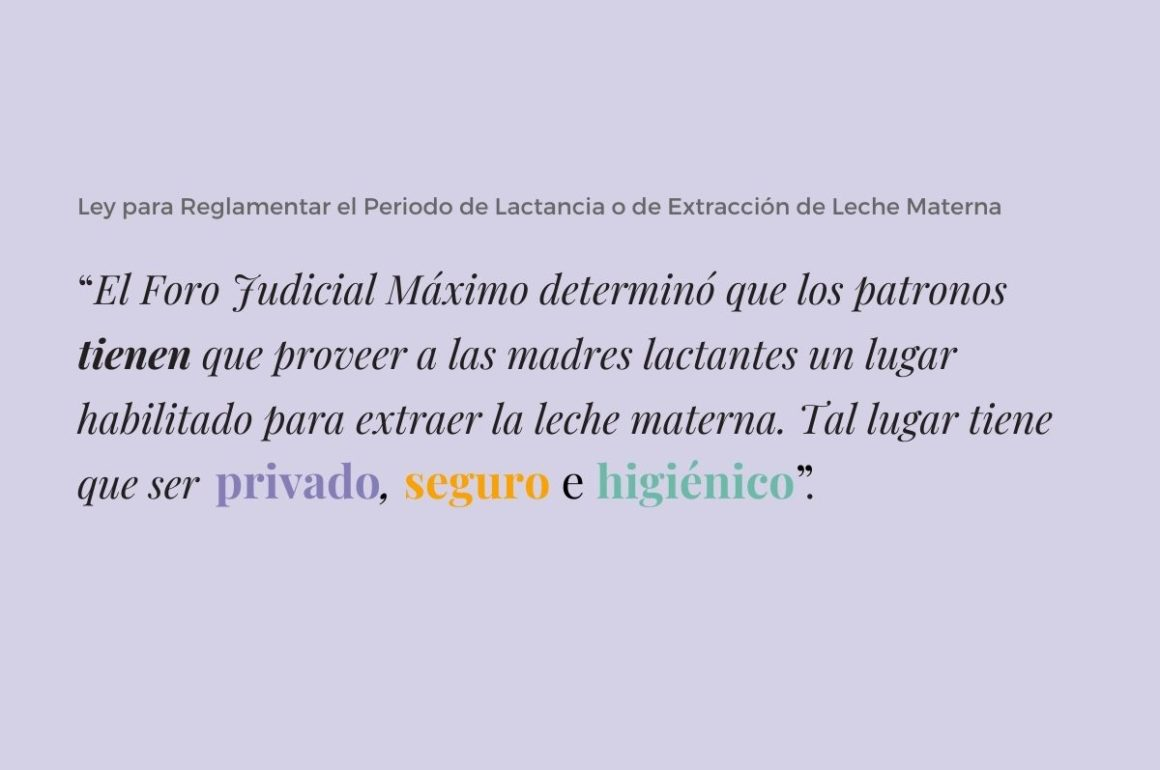 Ley para Reglamentar el Periodo de Lactancia o de Extracción de Leche Materna