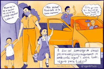 Ilustración madre busca a sus hijos a la escuela en medio de la pandemia por COVID-19, por Agar estudio, Adriana García Soto