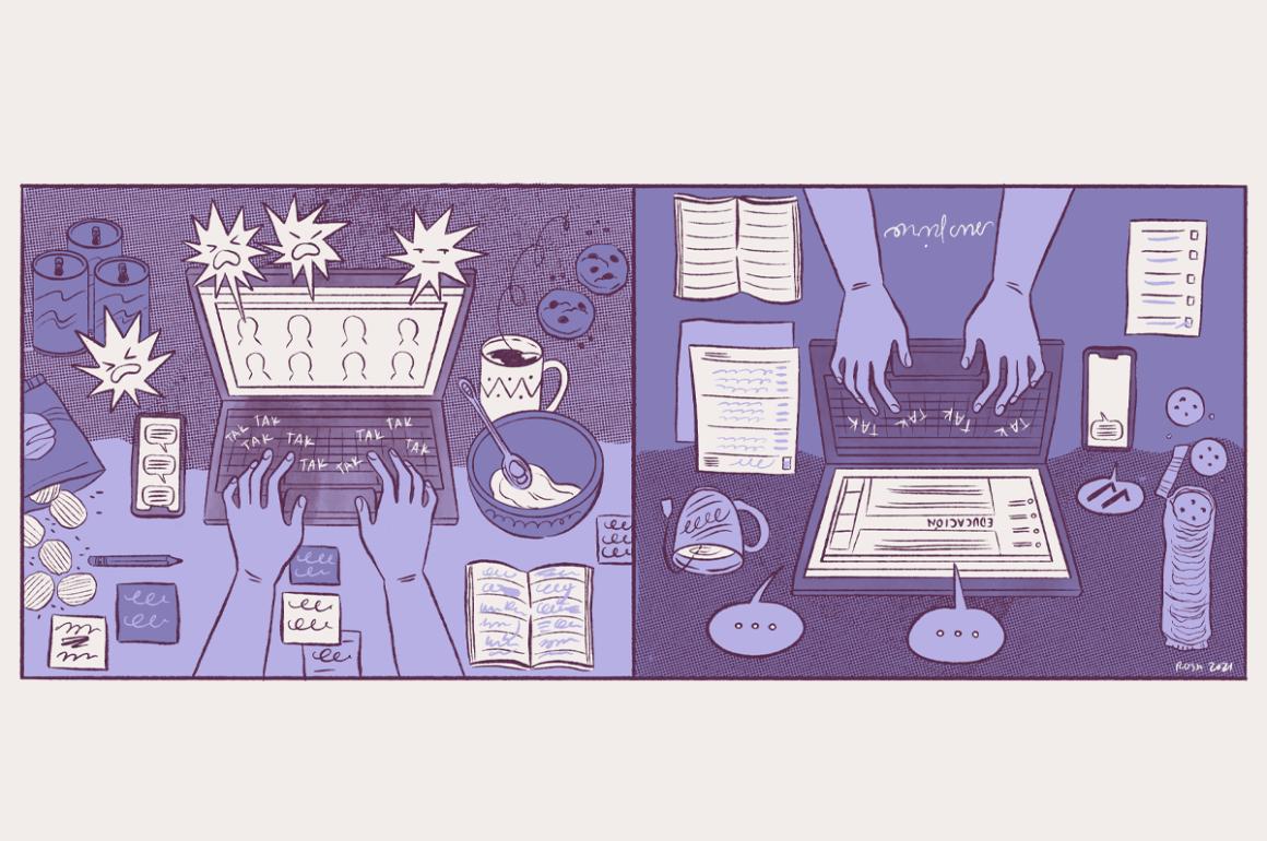 Múltiples jornadas de trabajo de las mujeres en la pandemia / Ilustración por Rosa Colón